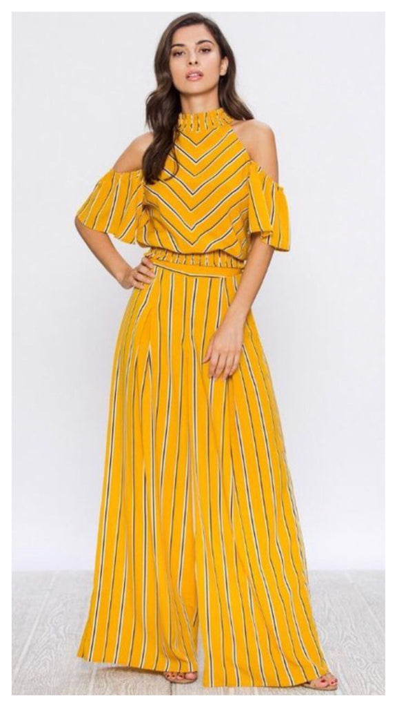 Afternoon Stroll 2pc Wide Leg Stripe Pants Set