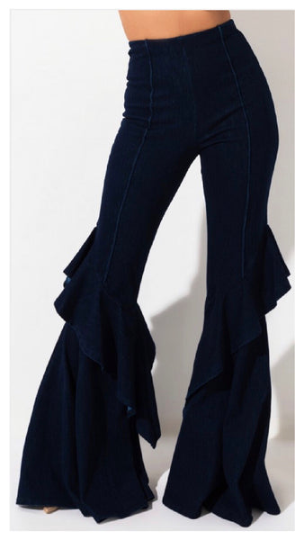Ruffle it up Denim Stretch Jean Pants