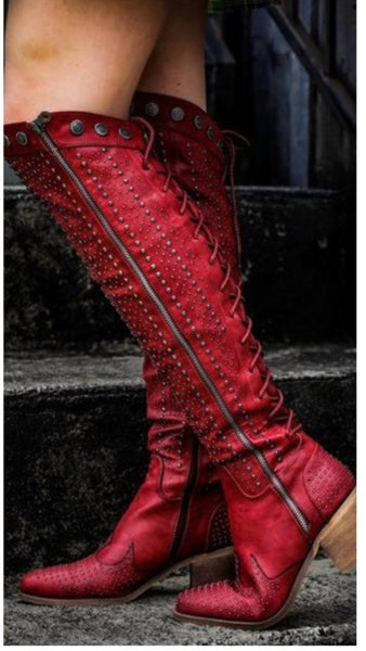 Devil in the Details Stud Riding Boots (Pre-Order)