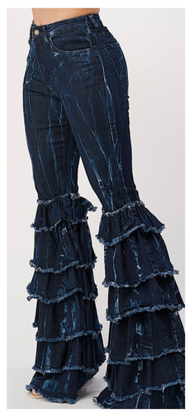 Cha Cha Swing Distressed Tie Dye Flare Jean