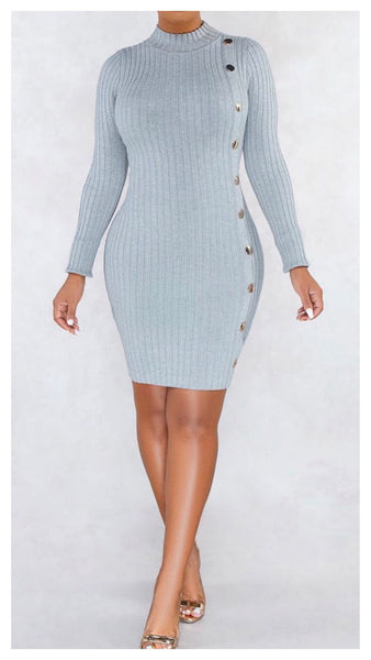 Button It Up Ribbed Sweater Dress