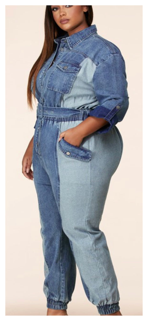 Twice the Denim Two Tone Jumpsuit (Plus Size Only)