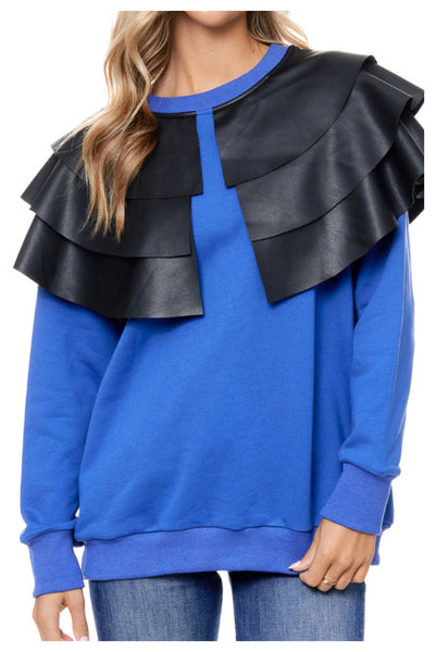 Falling Pleats Faux Leather Shoulder Top ( More Colors)