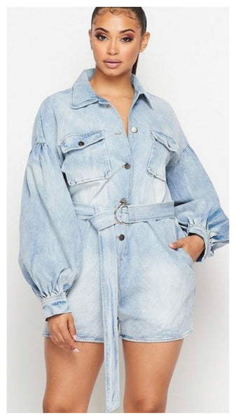 Denim Vibes Balloon Sleeve Romper