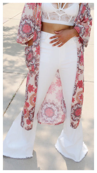 White Bells..... High waist frayed bottom flare jeans