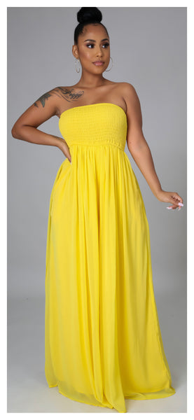 Bon Bon Smocked Tube Wide Leg Jumpsuit (Yellow)