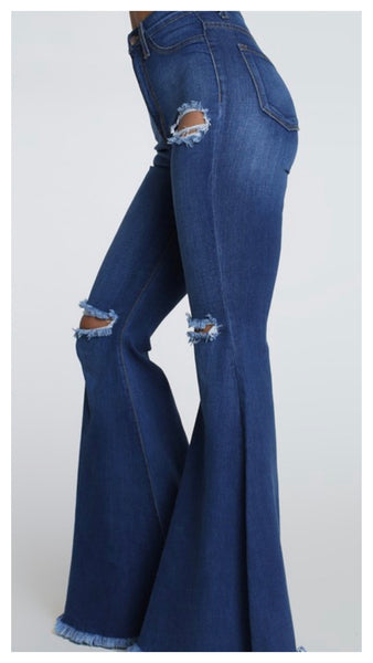 Distressed Out Wide Leg Jeans