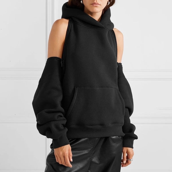 Zip Around it Sweatshirt Hoodie ( Black)