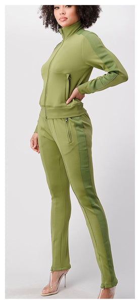Around The Tracks 2pc Jogger Set ( Olive) - Available in XL