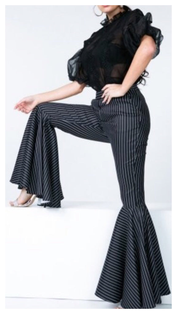 Ava Fitted Stripe Bell Bottom Pants