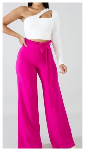 Krista Stretchy Ruffle Wide Leg Pants