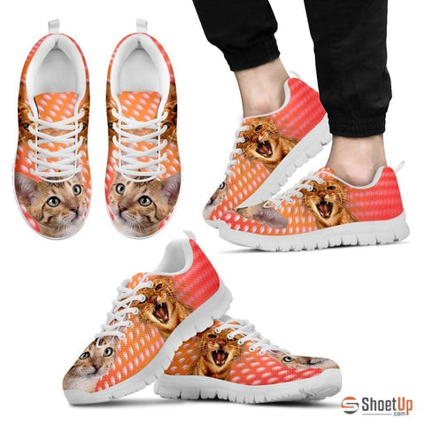 Toyger Cat Print (White/Black) Running Shoes For Men-Free Shipping