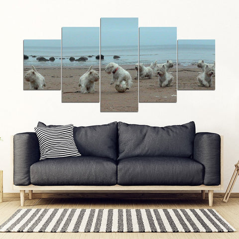 West Highland White Terrier (Westie) Print-5 Piece Framed Canvas- Free Shipping