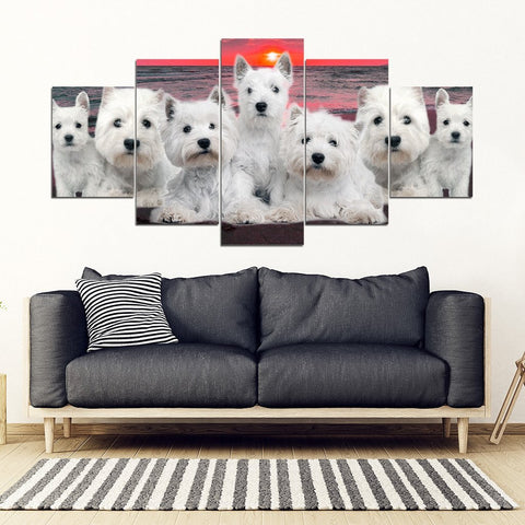West Highland White Terrier (Westie) With Family Print-5 Piece Framed Canvas- Free Shipping