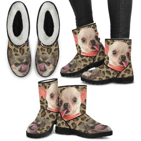 Chihuahua Print Faux Fur Boots For Women-Free Shipping