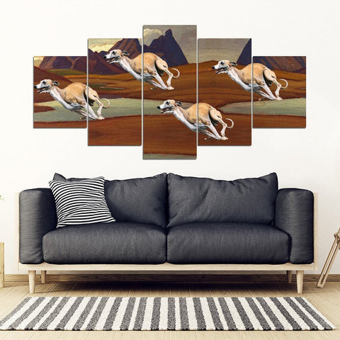 Whippet Racing Print-5 Piece Framed Canvas- Free Shipping