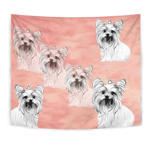 Yorkshire Terrier Dog Sketch Print Tapestry-Free Shipping