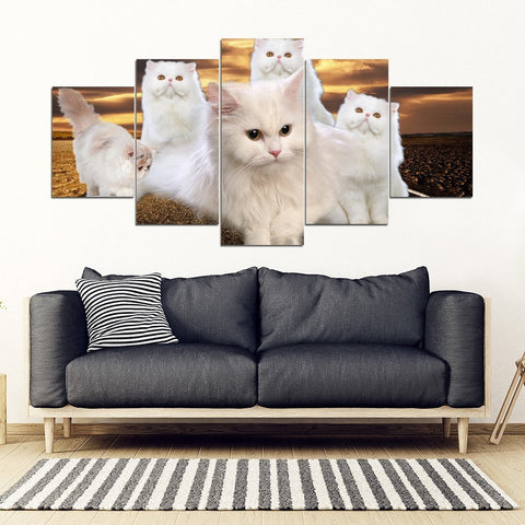 White Persian Cat Print- 5 Piece Framed Canvas- Free Shipping