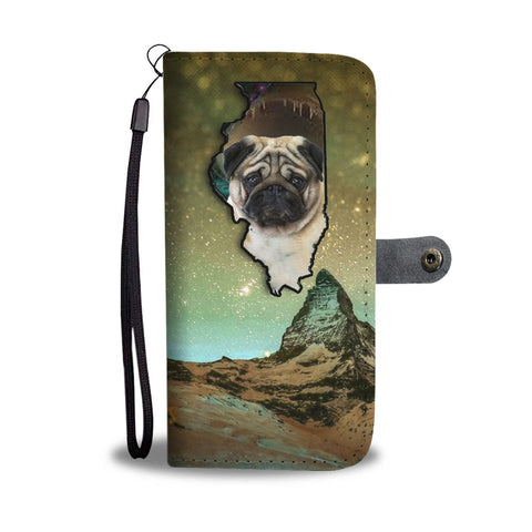 Cute Pug Print Wallet Case-Free Shipping-IL State