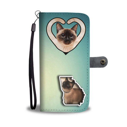Siamese Cat Print Wallet Case-Free Shipping-GA State