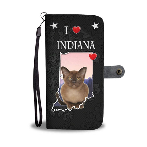 Cute Burmese Cat On Black Print Wallet Case-Free Shipping-IN State