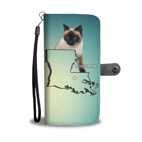 Balinese Cat Print Wallet Case-Free Shipping-LA State