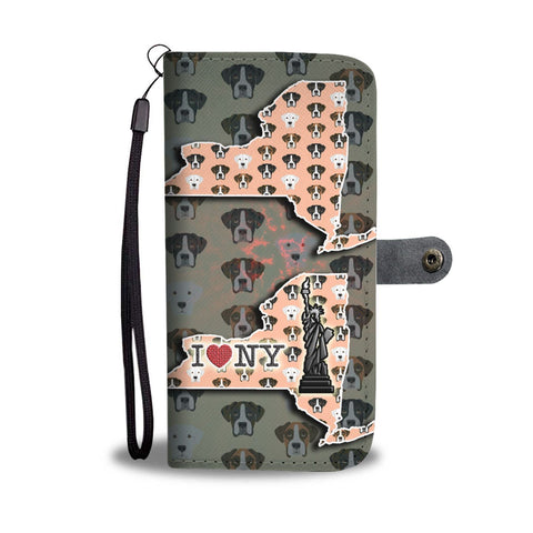 Boxer Dog Pattern Print Wallet Case-Free Shipping-NY State