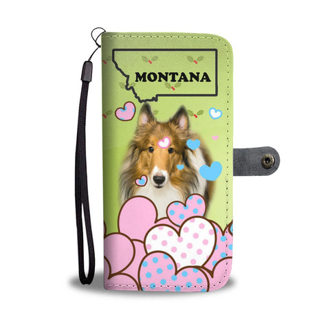 Rough Collie Print Wallet Case-Free Shipping-MT State