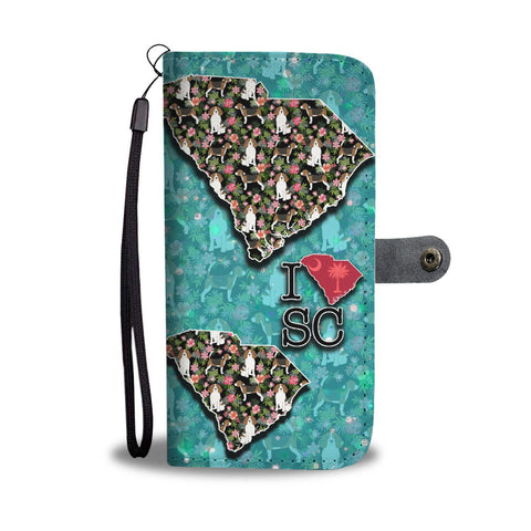 Beagle Dog Floral Print Wallet Case-Free Shipping-SC State