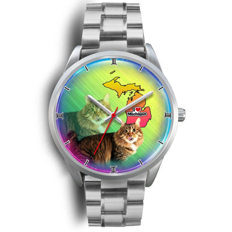 Cute American Bobtail Cat Michigan Christmas Special Wrist Watch-Free Shipping