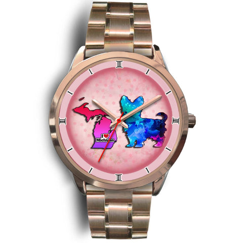 Yorkie Dog Color Art Michigan Christmas Special Wrist Watch-Free Shipping