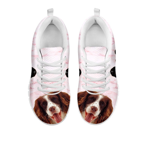 English Springer Spaniel Pink Print Sneakers For Women- Free Shipping-For 24 Hours Only