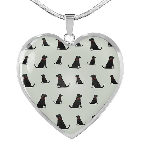 Labrador Retriever Pattern Print Luxury Heart Charm Necklace -Free Shipping