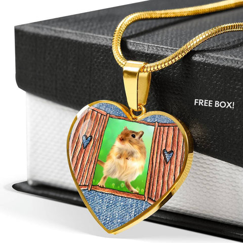 Golden Hamster Art Print Heart Charm Necklaces-Free Shipping