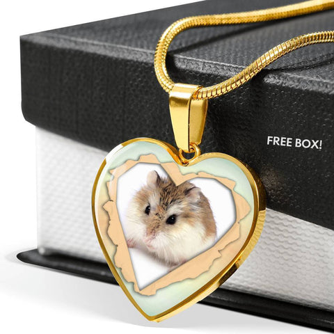 Robo Hamster Print Heart Charm Necklaces-Free Shipping