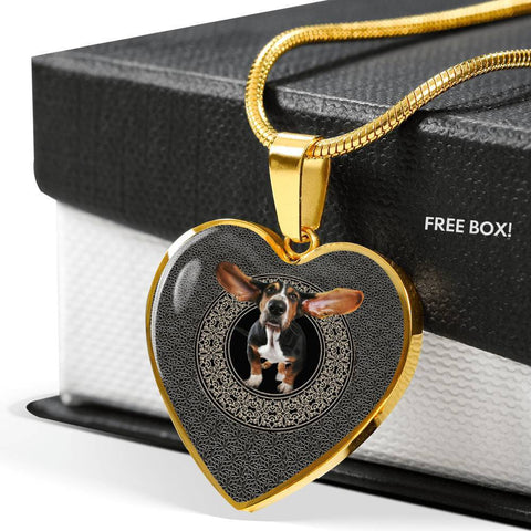 Amazing Basset Hound Dog Print Heart Pendant Luxury Necklace-Free Shipping