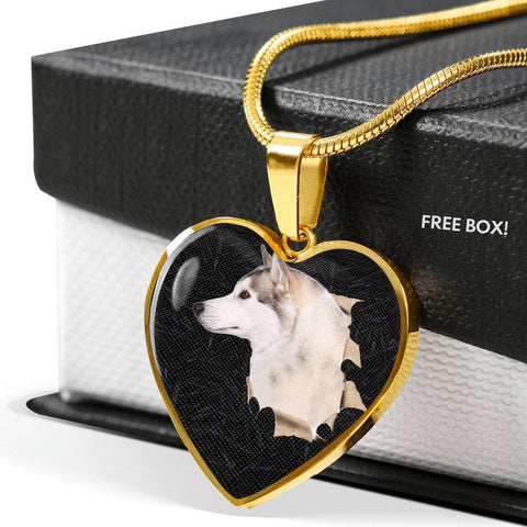 Siberian Husky Dog 3D Print Heart Charm Necklaces-Free Shipping