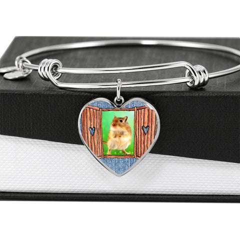 Golden Hamster Art Print Heart Pendant Bangle-Free Shipping