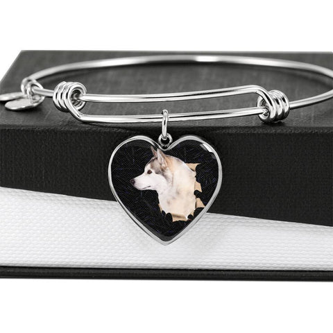 Siberian Husky Dog 3D Print Heart Pendant Bangle-Free Shipping