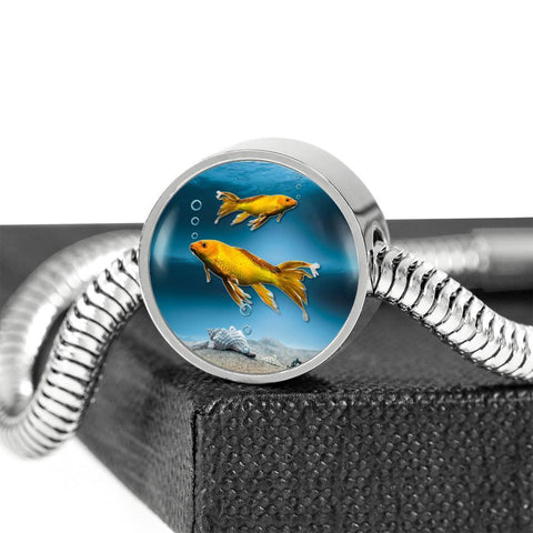 Butterfly Koi Fish Print Circle Steel Bracelet-Free Shipping