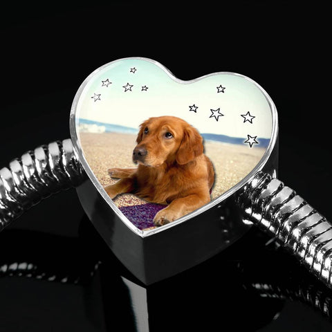 Cute Golden Retriever Print Heart Charm Steel Bracelet-Free Shipping