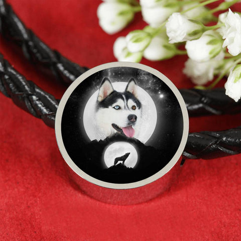 Siberian Husky Dog Print Circle Charm Leather Bracelet-Free Shipping