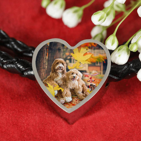Labradoodle Print Heart Charm Braided Bracelet-Free Shipping