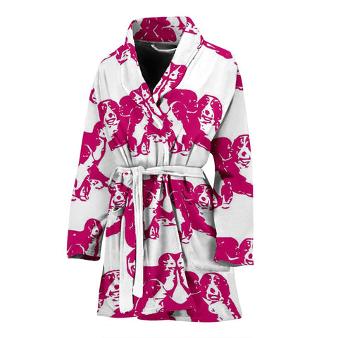 Bernese Mountain Dog Print Women's Bath Robe-Free Shipping