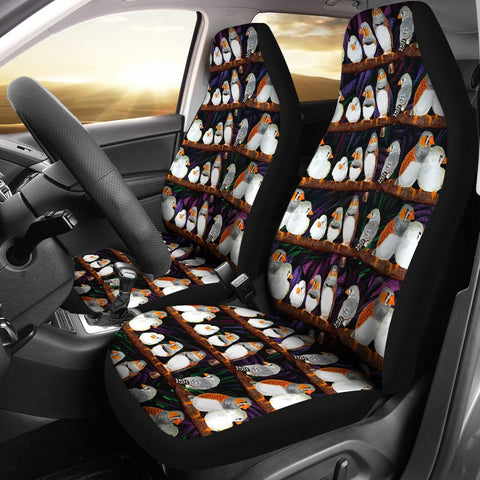 Zebra Finch Bird Pattern Print Car Seat Covers-Free Shipping