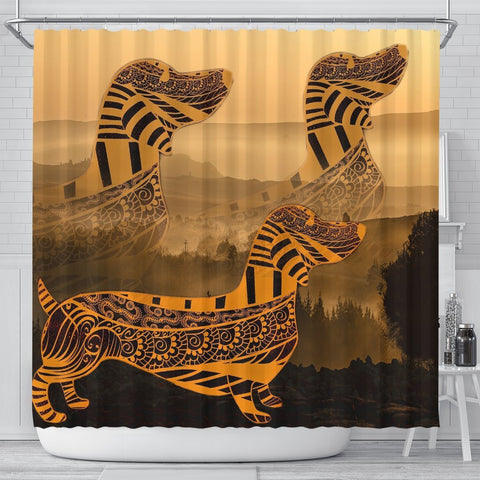 Dachshund Print Shower Curtains-Free Shipping