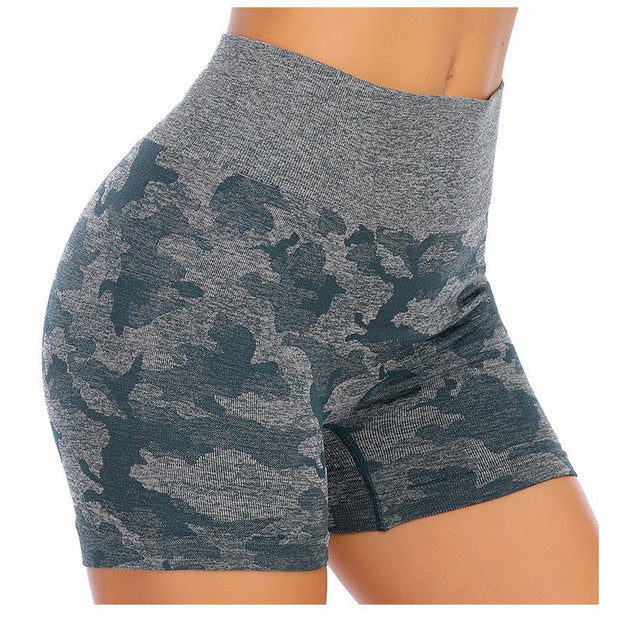 SEAMLESS CAMO SHORTS - BLACK