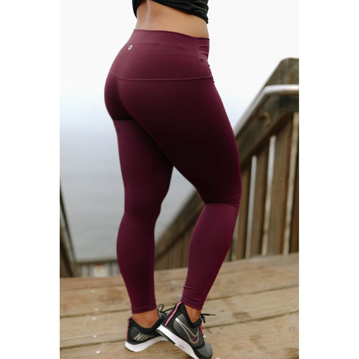 FEARLESS - BURGUNDY-Leggings-Honey Athletica