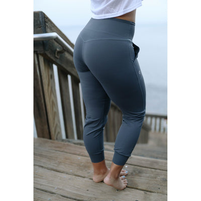 FEARLESS JOGGERS - OCEAN GRAY-Joggers-Honey Athletica