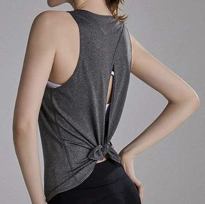 FUN & FREE TANK TOP - GRAY-Tank Top-Honey Athletica